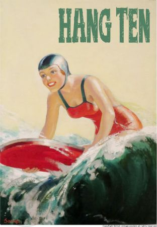 SURFING POSTER 'HANG TEN'